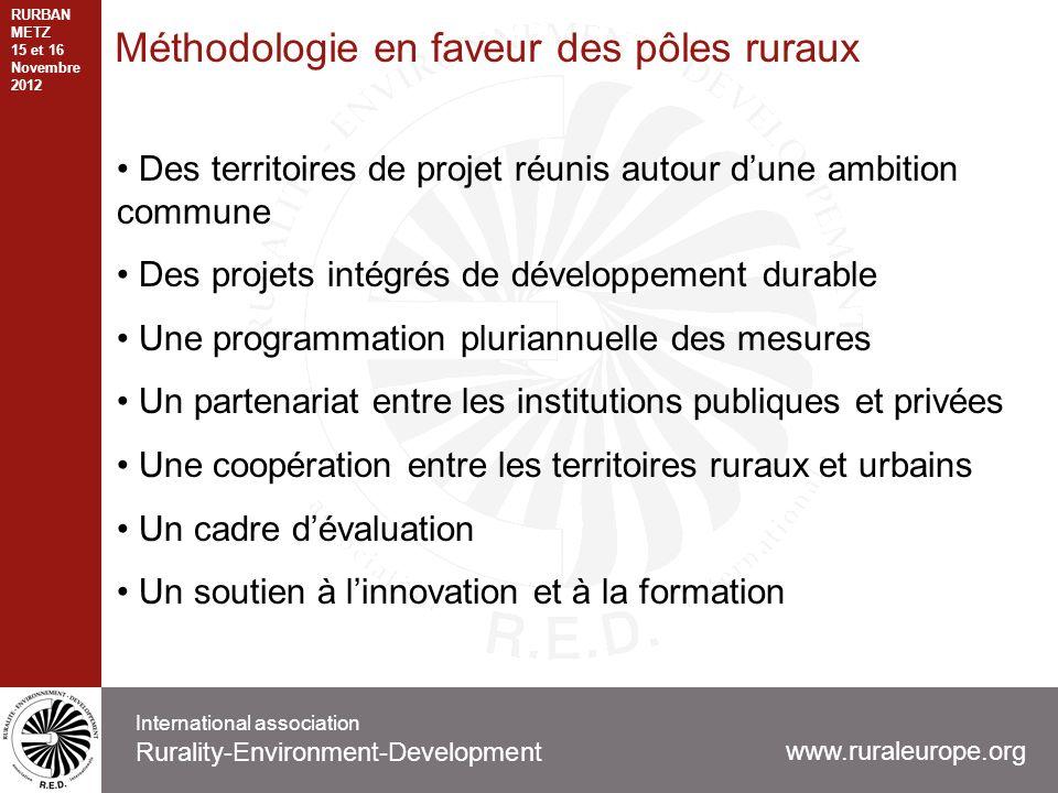 Méthodologie en faveur des pôles ruraux Des territoires de projet réunis autour dune ambition commune Des projets intégrés de développement durable Un