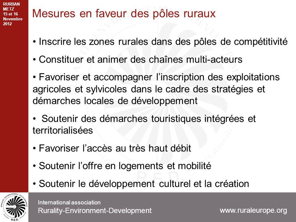Mesures en faveur des pôles ruraux Inscrire les zones rurales dans des pôles de compétitivité Constituer et animer des chaînes multi-acteurs Favoriser