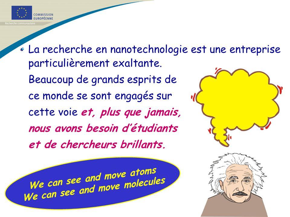 La recherche en nanotechnologie est une entreprise particulièrement exaltante. Beaucoup de grands esprits de ce monde se sont engagés sur cette voie e