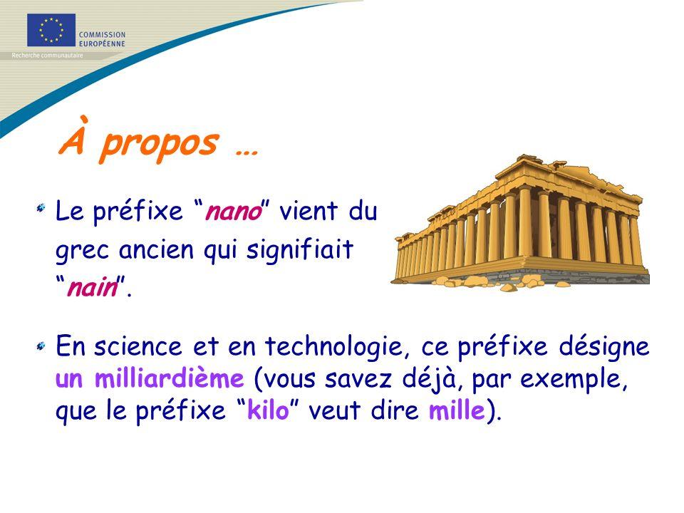 À propos … Le préfixe nano vient du grec ancien qui signifiait nain. En science et en technologie, ce préfixe désigne un milliardième (vous savez déjà