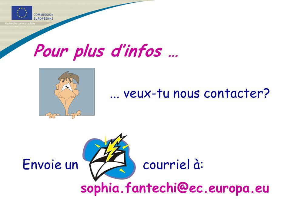 Pour plus dinfos …... veux-tu nous contacter? Envoie un courriel à: sophia.fantechi@ec.europa.eu