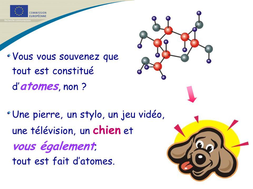 Vous vous souvenez que tout est constitué d atomes, non ? Une pierre, un stylo, un jeu vidéo, une télévision, un chien et vous également ; tout est fa