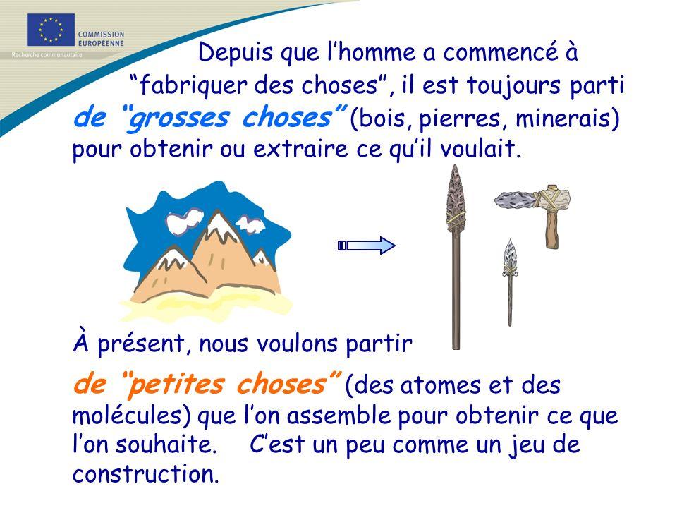 Depuis que lhomme a commencé à fabriquer des choses, il est toujours parti de grosses choses (bois, pierres, minerais) pour obtenir ou extraire ce qui