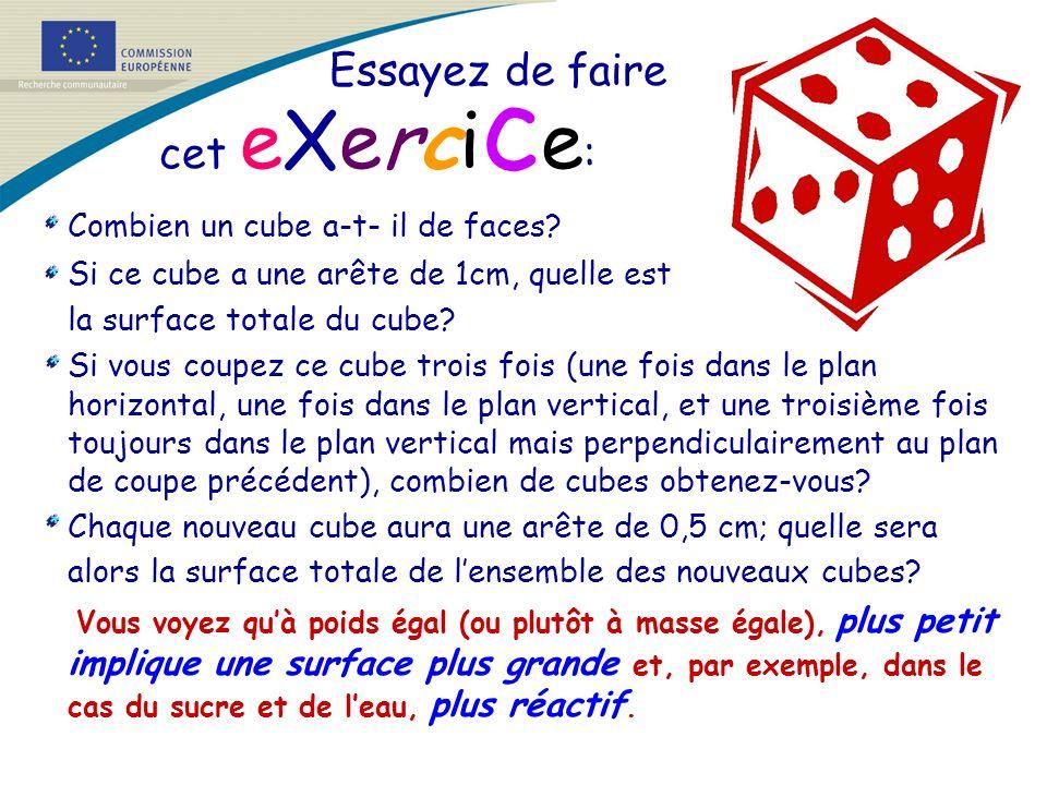 Essayez de faire cet eXerci c e : Combien un cube a-t- il de faces? Si ce cube a une arête de 1cm, quelle est la surface totale du cube? Si vous coupe