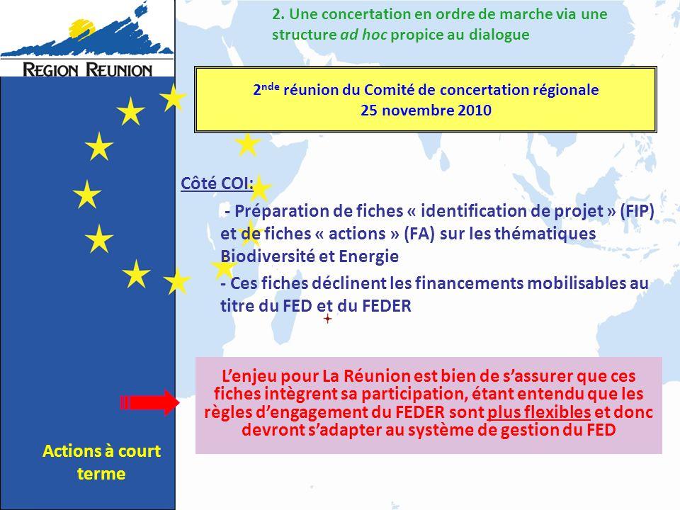 Côté COI: - Préparation de fiches « identification de projet » (FIP) et de fiches « actions » (FA) sur les thématiques Biodiversité et Energie - Ces fiches déclinent les financements mobilisables au titre du FED et du FEDER 2.