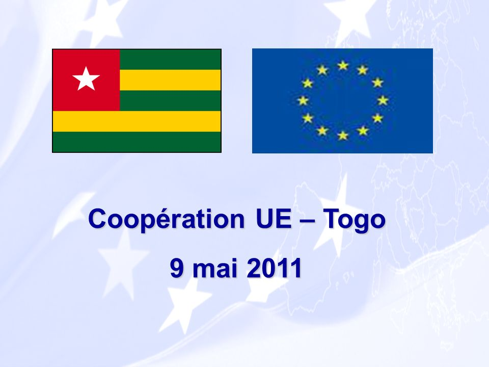 En tant que pays ACP, les relations entre lUE et le Togo sont régis par lAccord de Cotonou qui vise à bâtir un partenariat global, reposant sur trois piliers complémentaires : Coopération au développement Coopération économique et commerciale Dimension politique Le cadre de lAccord de Partenariat ACP-UE de Cotonou