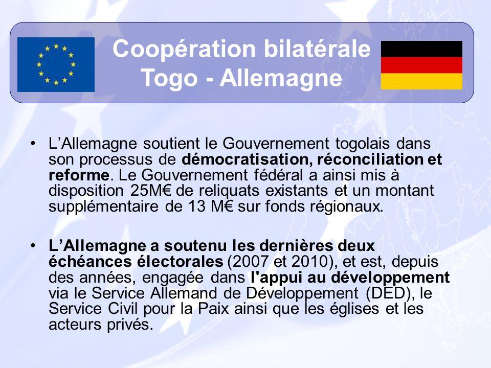 LAllemagne soutient le Gouvernement togolais dans son processus de démocratisation, réconciliation et reforme. Le Gouvernement fédéral a ainsi mis à d