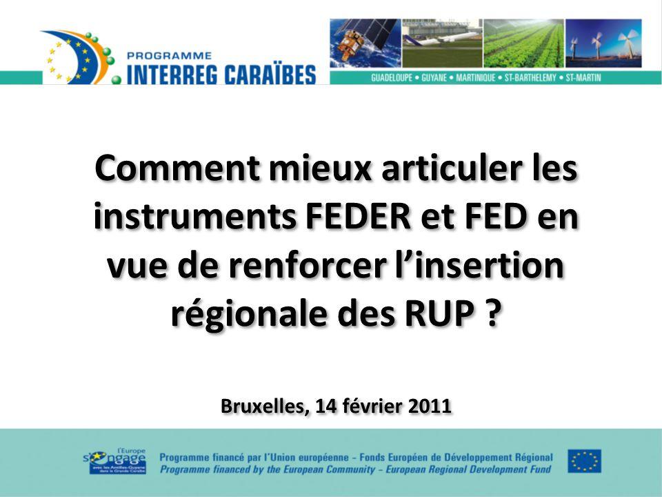 Comment mieux articuler les instruments FEDER et FED en vue de renforcer linsertion régionale des RUP ? Bruxelles, 14 février 2011 Comment mieux artic