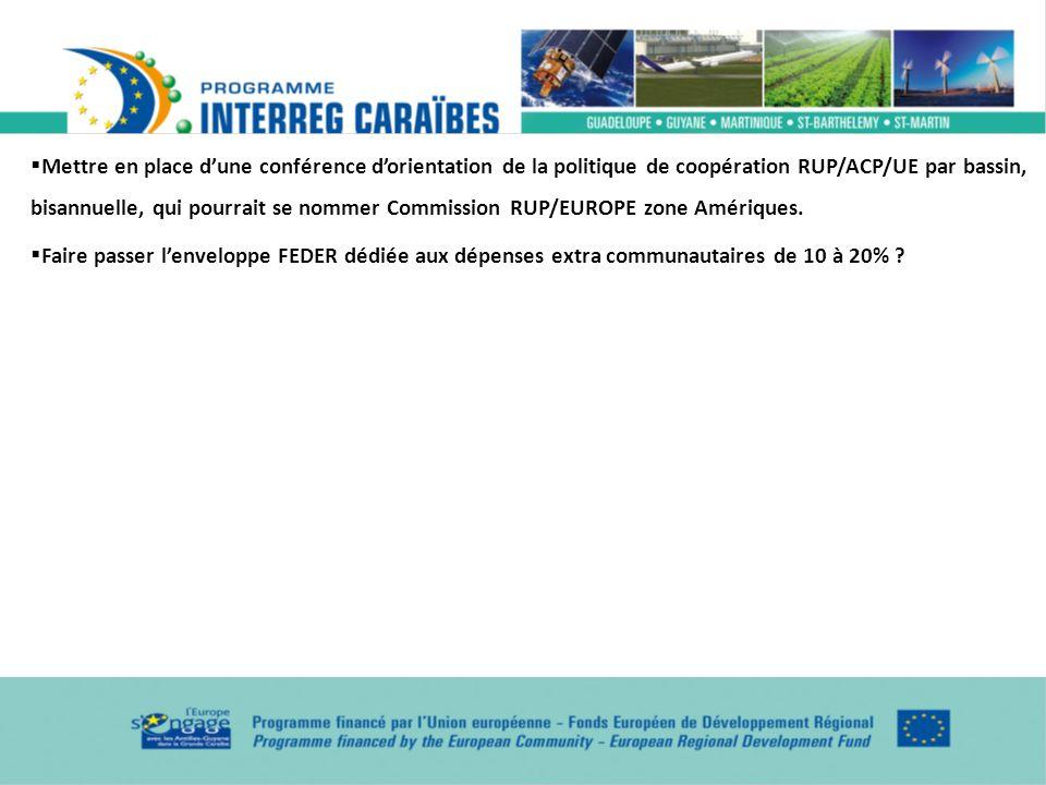 Mettre en place dune conférence dorientation de la politique de coopération RUP/ACP/UE par bassin, bisannuelle, qui pourrait se nommer Commission RUP/