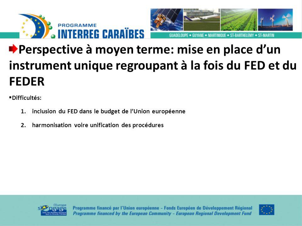 Perspective à moyen terme: mise en place dun instrument unique regroupant à la fois du FED et du FEDER Difficultés: 1.inclusion du FED dans le budget