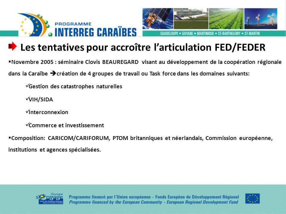 Les tentatives pour accroître larticulation FED/FEDER Novembre 2005 : séminaire Clovis BEAUREGARD visant au développement de la coopération régionale