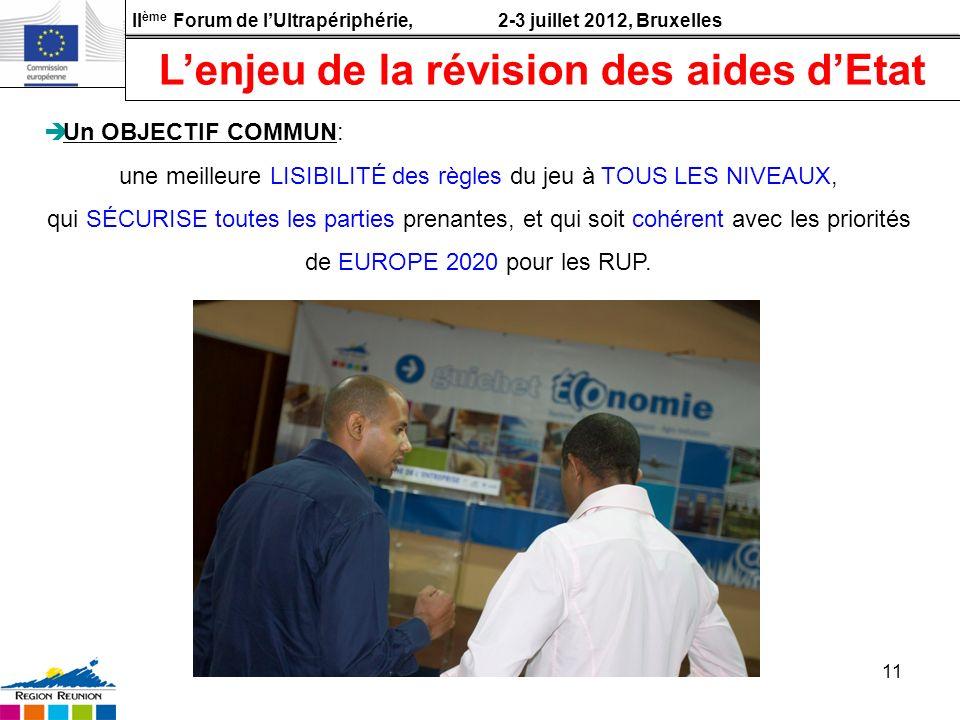II ème Forum de lUltrapériphérie, 2-3 juillet 2012, Bruxelles 11 Un OBJECTIF COMMUN: une meilleure LISIBILITÉ des règles du jeu à TOUS LES NIVEAUX, qu