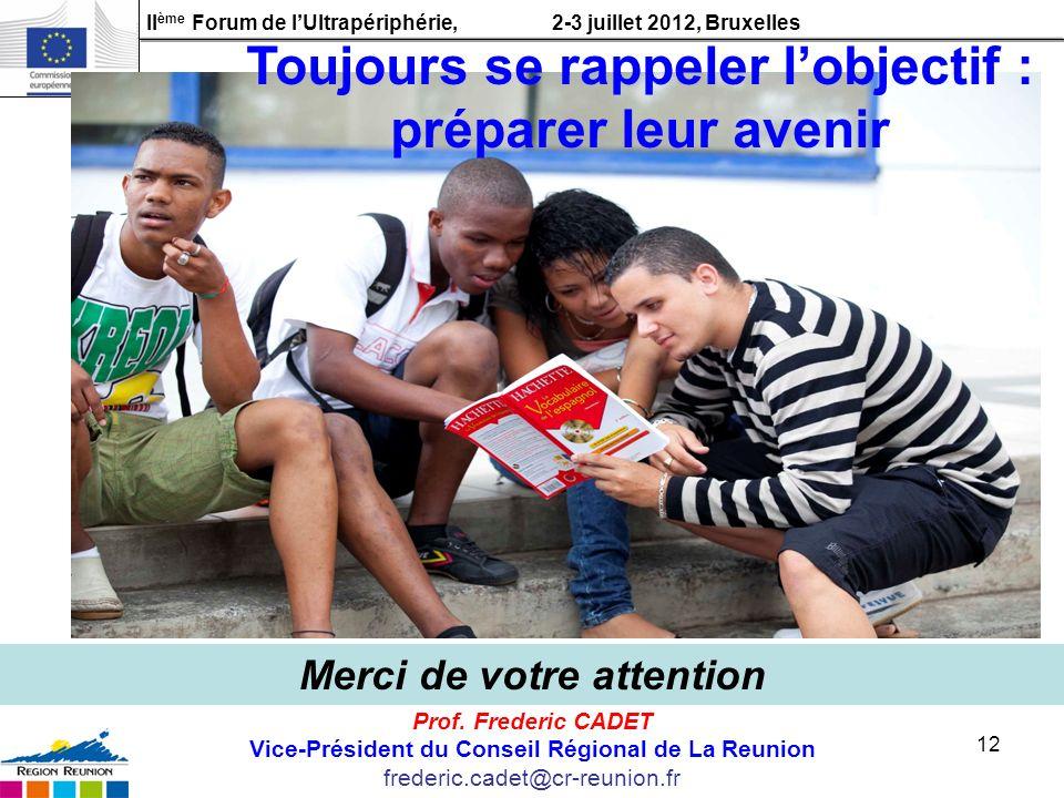 II ème Forum de lUltrapériphérie, 2-3 juillet 2012, Bruxelles 12 Prof. Frederic CADET Vice-Président du Conseil Régional de La Reunion frederic.cadet@