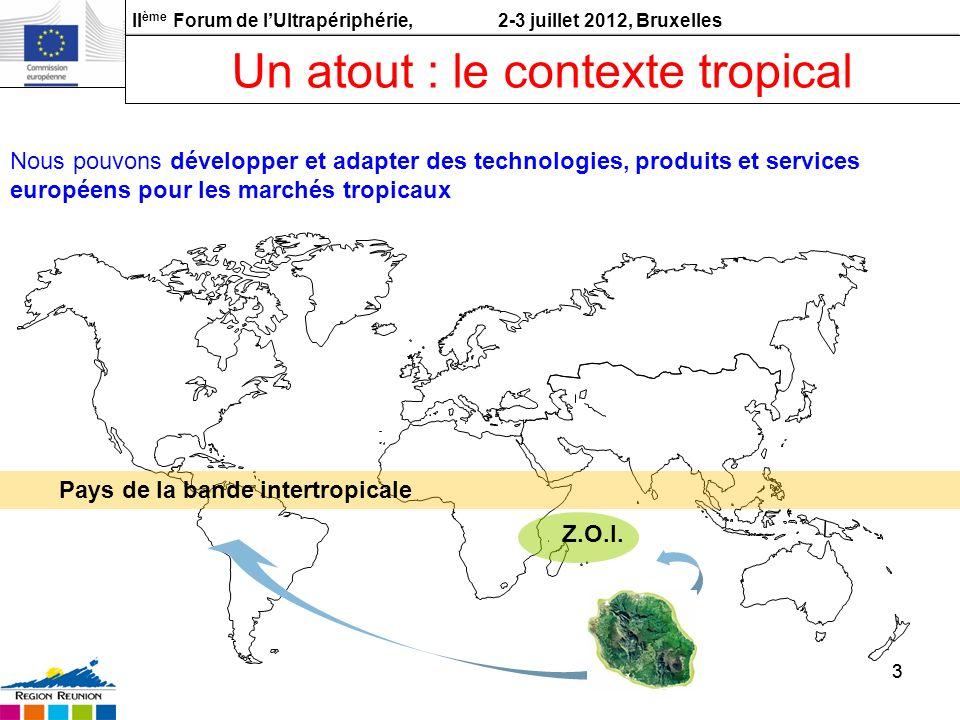 II ème Forum de lUltrapériphérie, 2-3 juillet 2012, Bruxelles 33 Z.O.I. Pays de la bande intertropicale Un atout : le contexte tropical Nous pouvons d
