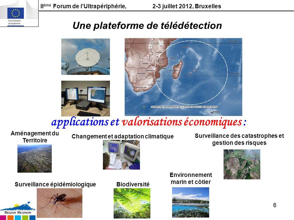 II ème Forum de lUltrapériphérie, 2-3 juillet 2012, Bruxelles 6 Aménagement du Territoire Environnement marin et côtier Surveillance épidémiologique S