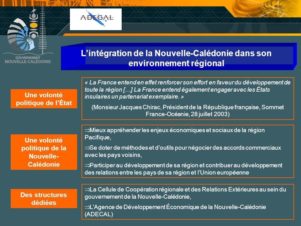 Cellule Communication Lintégration de la Nouvelle-Calédonie dans son environnement régional Une volonté politique de lÉtat « La France entend en effet