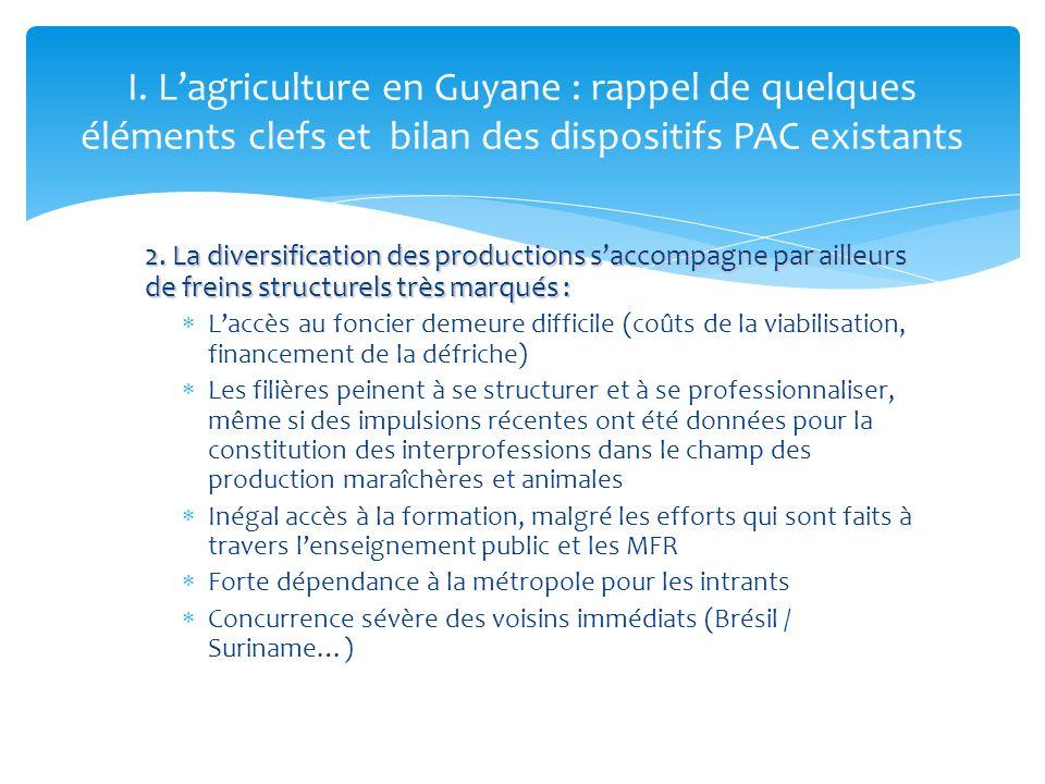 2. La diversification des productions saccompagne par ailleurs de freins structurels très marqués : Laccès au foncier demeure difficile (coûts de la v