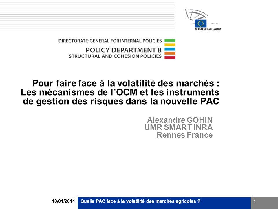 10/01/2014Quelle PAC face à la volatilité des marchés agricoles ?2 Plan de la présentation Pourquoi une politique publique pour la gestion des risques .