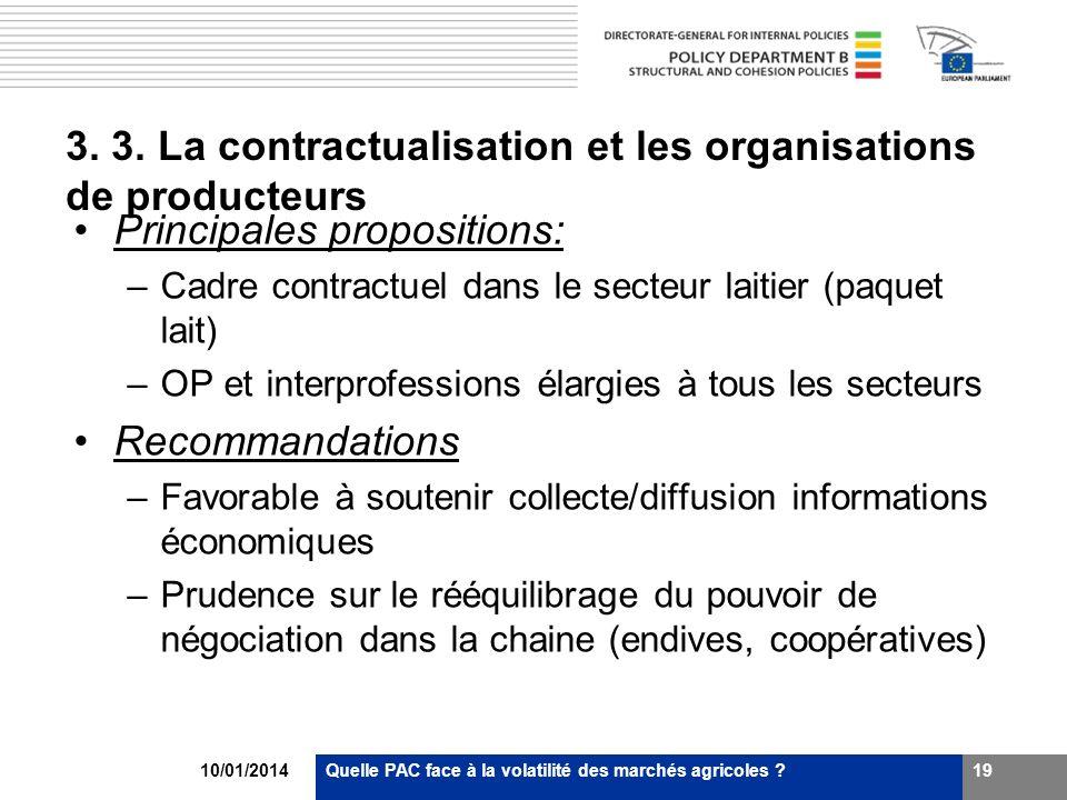 10/01/2014Quelle PAC face à la volatilité des marchés agricoles ?19 3. 3. La contractualisation et les organisations de producteurs Principales propos