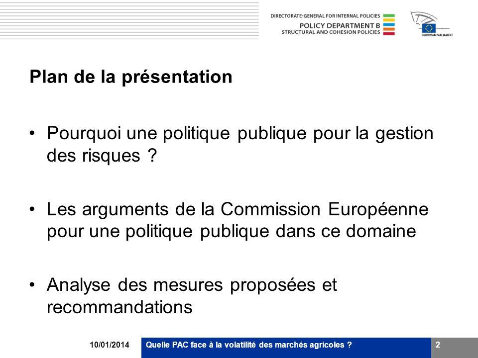 10/01/2014Quelle PAC face à la volatilité des marchés agricoles ?2 Plan de la présentation Pourquoi une politique publique pour la gestion des risques