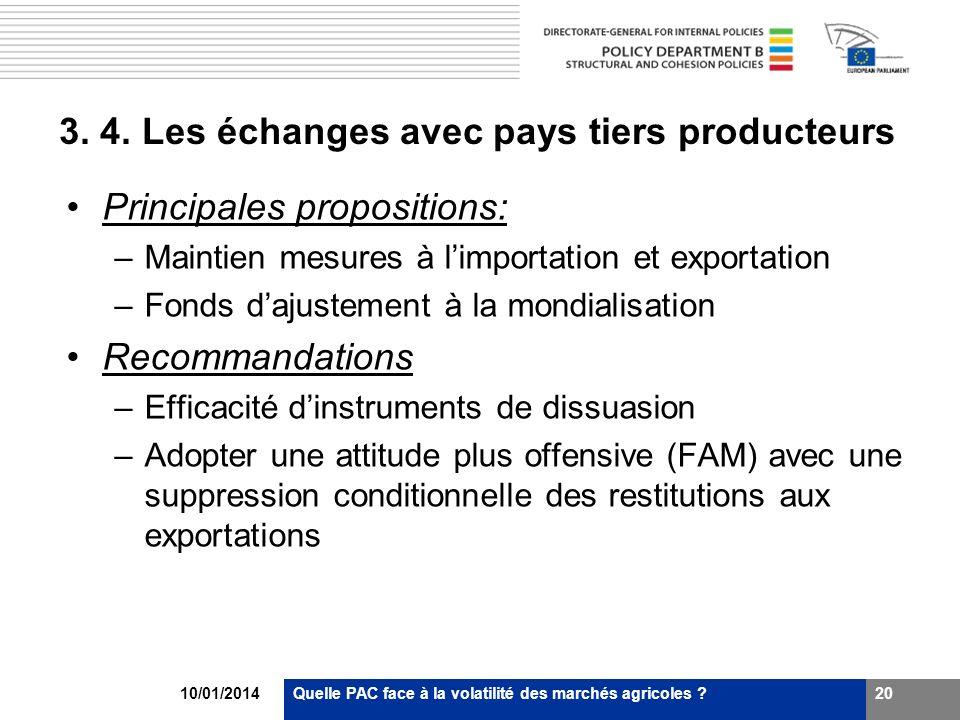 10/01/2014Quelle PAC face à la volatilité des marchés agricoles ?20 3. 4. Les échanges avec pays tiers producteurs Principales propositions: –Maintien