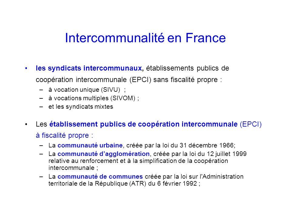 Intercommunalité en France les syndicats intercommunaux, établissements publics de coopération intercommunale (EPCI) sans fiscalité propre : –à vocation unique (SIVU) ; –à vocations multiples (SIVOM) ; –et les syndicats mixtes Les établissement publics de coopération intercommunale (EPCI) à fiscalité propre : –La communauté urbaine, créée par la loi du 31 décembre 1966; –La communauté dagglomération, créée par la loi du 12 juillet 1999 relative au renforcement et à la simplification de la coopération intercommunale ; –La communauté de communes créée par la loi sur l Administration territoriale de la République (ATR) du 6 février 1992 ;