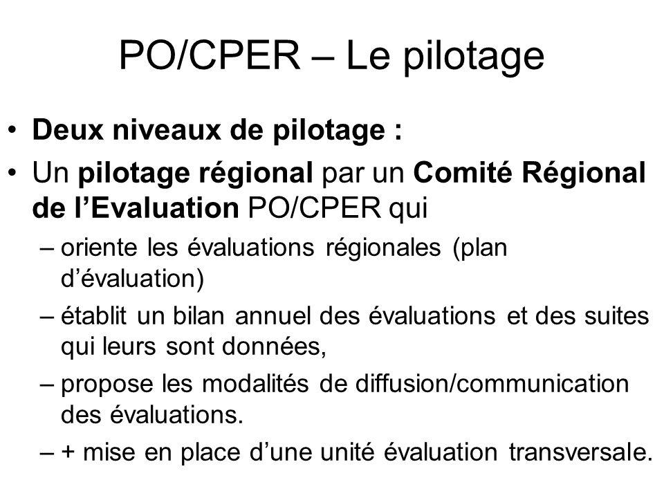 PO/CPER – Le pilotage Deux niveaux de pilotage : Un pilotage régional par un Comité Régional de lEvaluation PO/CPER qui –oriente les évaluations régionales (plan dévaluation) –établit un bilan annuel des évaluations et des suites qui leurs sont données, –propose les modalités de diffusion/communication des évaluations.