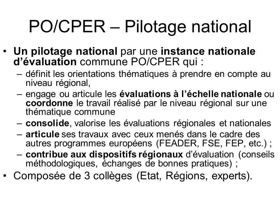 PO/CPER – Pilotage national Un pilotage national par une instance nationale dévaluation commune PO/CPER qui : –définit les orientations thématiques à prendre en compte au niveau régional, –engage ou articule les évaluations à léchelle nationale ou coordonne le travail réalisé par le niveau régional sur une thématique commune –consolide, valorise les évaluations régionales et nationales –articule ses travaux avec ceux menés dans le cadre des autres programmes européens (FEADER, FSE, FEP, etc.) ; –contribue aux dispositifs régionaux dévaluation (conseils méthodologiques, échanges de bonnes pratiques) ; Composée de 3 collèges (Etat, Régions, experts).