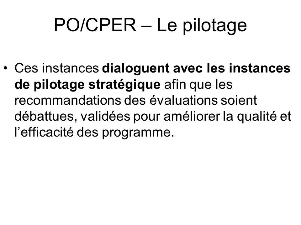 PO/CPER – Le pilotage Ces instances dialoguent avec les instances de pilotage stratégique afin que les recommandations des évaluations soient débattues, validées pour améliorer la qualité et lefficacité des programme.