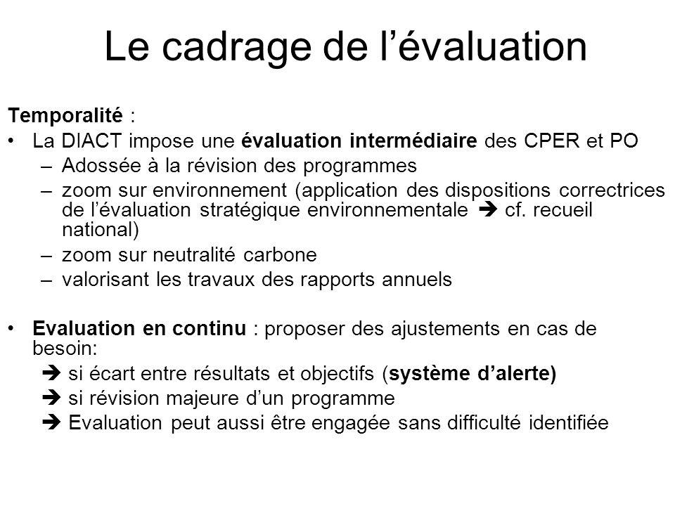 Le cadrage de lévaluation Temporalité : La DIACT impose une évaluation intermédiaire des CPER et PO –Adossée à la révision des programmes –zoom sur environnement (application des dispositions correctrices de lévaluation stratégique environnementale cf.