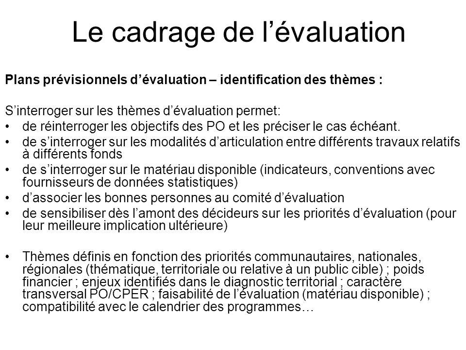 Le cadrage de lévaluation Plans prévisionnels dévaluation – identification des thèmes : Sinterroger sur les thèmes dévaluation permet: de réinterroger les objectifs des PO et les préciser le cas échéant.