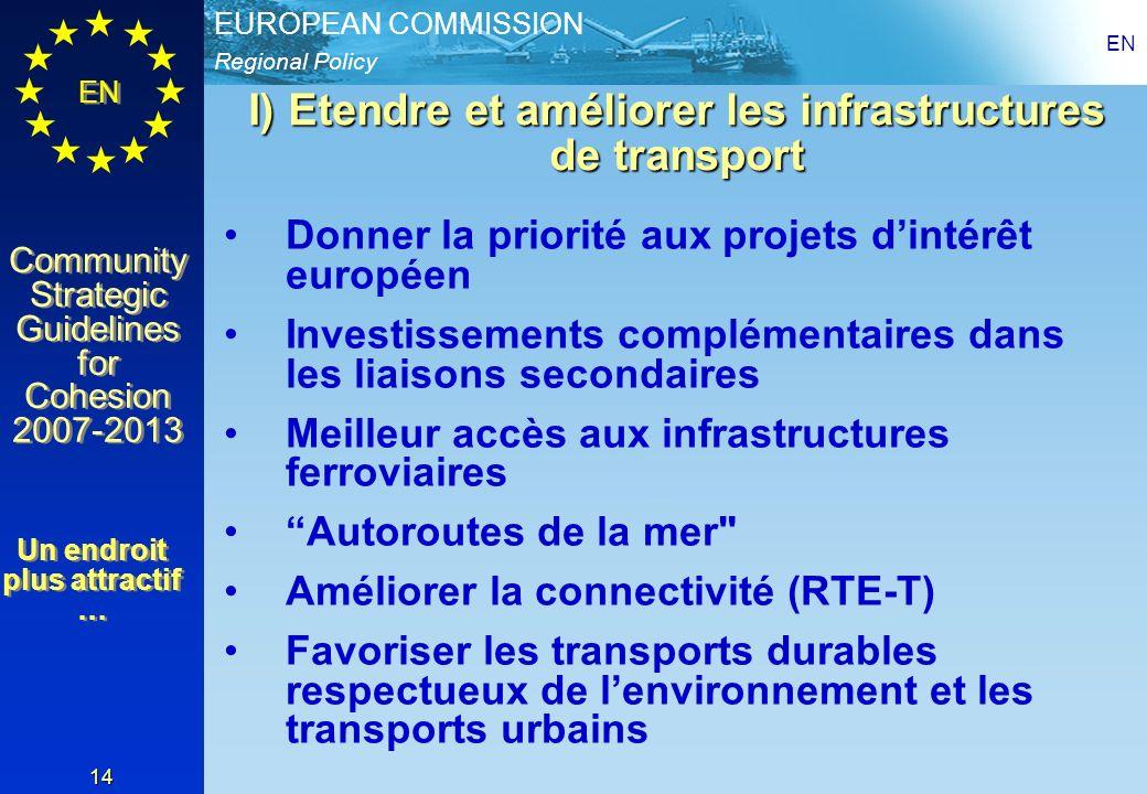Regional Policy EUROPEAN COMMISSION EN Community Strategic Guidelines for Cohesion 2007-2013 Community Strategic Guidelines for Cohesion 2007-2013 EN 14 I) Etendre et améliorer les infrastructures de transport Donner la priorité aux projets dintérêt européen Investissements complémentaires dans les liaisons secondaires Meilleur accès aux infrastructures ferroviaires Autoroutes de la mer Améliorer la connectivité (RTE-T) Favoriser les transports durables respectueux de lenvironnement et les transports urbains Un endroit plus attractif …