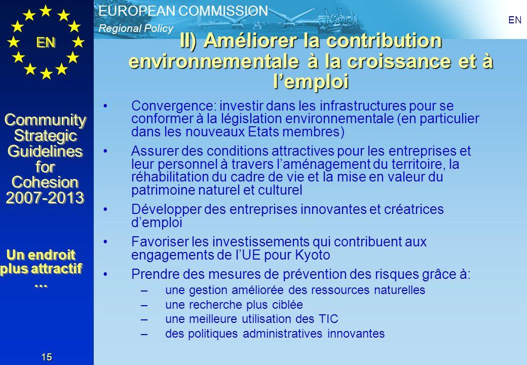 Regional Policy EUROPEAN COMMISSION EN Community Strategic Guidelines for Cohesion 2007-2013 Community Strategic Guidelines for Cohesion 2007-2013 EN 15 II) Améliorer la contribution environnementale à la croissance et à lemploi Convergence: investir dans les infrastructures pour se conformer à la législation environnementale (en particulier dans les nouveaux Etats membres) Assurer des conditions attractives pour les entreprises et leur personnel à travers laménagement du territoire, la réhabilitation du cadre de vie et la mise en valeur du patrimoine naturel et culturel Développer des entreprises innovantes et créatrices demploi Favoriser les investissements qui contribuent aux engagements de lUE pour Kyoto Prendre des mesures de prévention des risques grâce à: –une gestion améliorée des ressources naturelles –une recherche plus ciblée –une meilleure utilisation des TIC –des politiques administratives innovantes Un endroit plus attractif … Un endroit plus attractif …