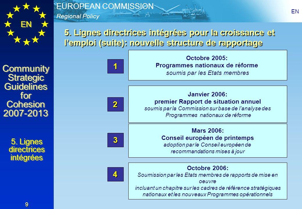 Regional Policy EUROPEAN COMMISSION EN Community Strategic Guidelines for Cohesion 2007-2013 Community Strategic Guidelines for Cohesion 2007-2013 EN 9 Octobre 2005: Programmes nationaux de réforme soumis par les Etats membres 1 Janvier 2006: premier Rapport de situation annuel soumis par la Commission sur base de lanalyse des Programmes nationaux de réforme 2 Mars 2006: Conseil européen de printemps adoption par le Conseil européen de recommandations mises à jour 3 Octobre 2006: Soumission par les Etats membres de rapports de mise en oeuvre incluant un chapitre sur les cadres de référence stratégiques nationaux et les nouveaux Programmes opérationnels 4 5.
