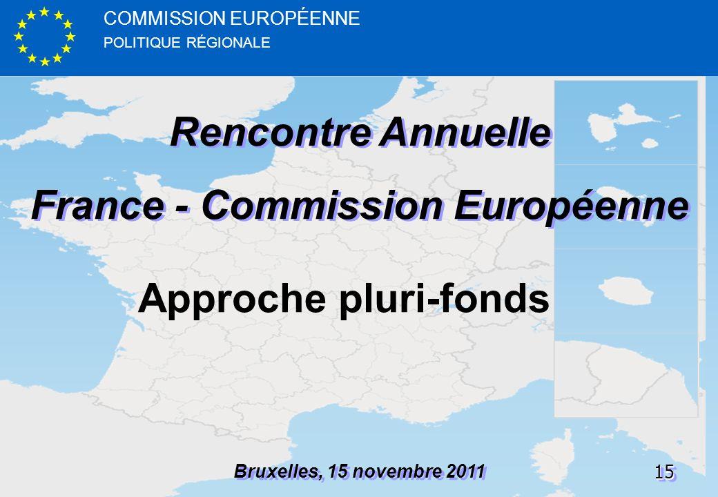 POLITIQUE RÉGIONALE COMMISSION EUROPÉENNE1515 Rencontre Annuelle France - Commission Européenne Rencontre Annuelle France - Commission Européenne Bruxelles, 15 novembre 2011 Approche pluri-fonds
