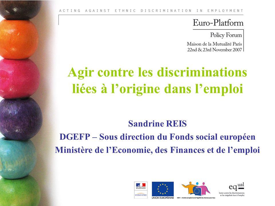 Agir contre les discriminations liées à lorigine dans lemploi Sandrine REIS DGEFP – Sous direction du Fonds social européen Ministère de lEconomie, des Finances et de lemploi