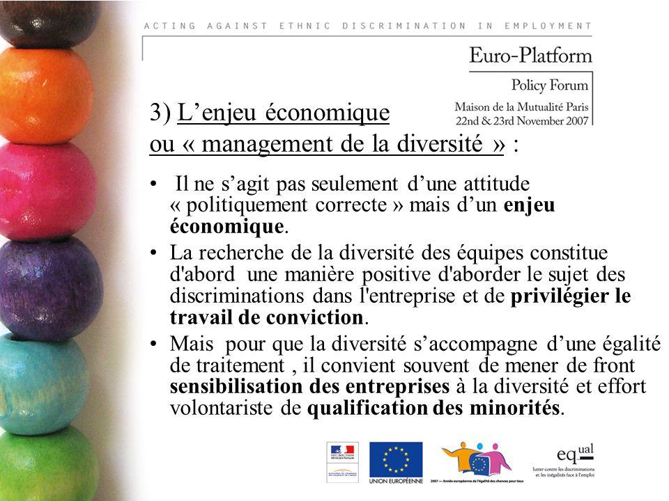 3) Lenjeu économique ou « management de la diversité » : Il ne sagit pas seulement dune attitude « politiquement correcte » mais dun enjeu économique.