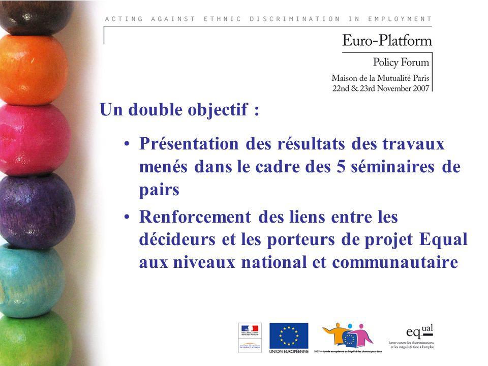 Un double objectif : Présentation des résultats des travaux menés dans le cadre des 5 séminaires de pairs Renforcement des liens entre les décideurs et les porteurs de projet Equal aux niveaux national et communautaire