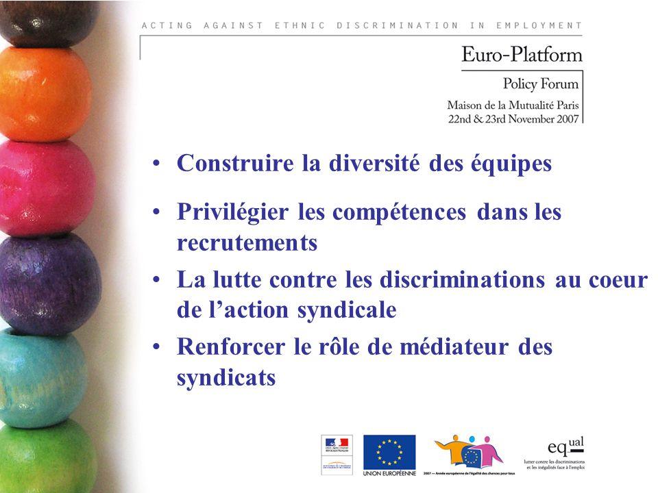Construire la diversité des équipes Privilégier les compétences dans les recrutements La lutte contre les discriminations au coeur de laction syndicale Renforcer le rôle de médiateur des syndicats