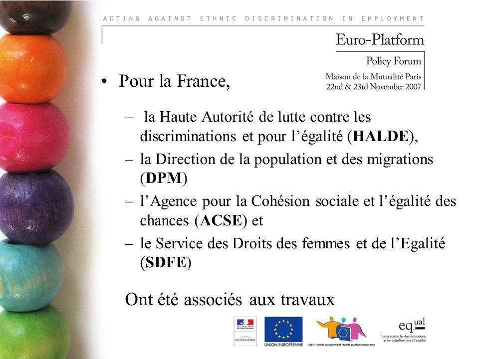 Pour la France, – la Haute Autorité de lutte contre les discriminations et pour légalité (HALDE), –la Direction de la population et des migrations (DPM) –lAgence pour la Cohésion sociale et légalité des chances (ACSE) et –le Service des Droits des femmes et de lEgalité (SDFE) Ont été associés aux travaux