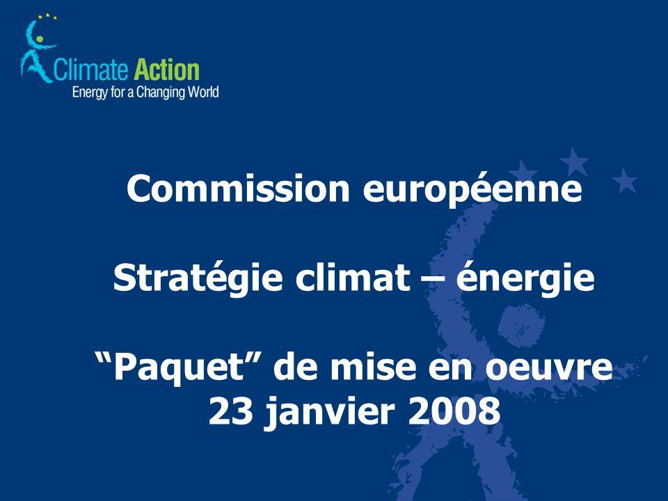 Commission européenne Stratégie climat – énergie Paquet de mise en oeuvre 23 janvier 2008