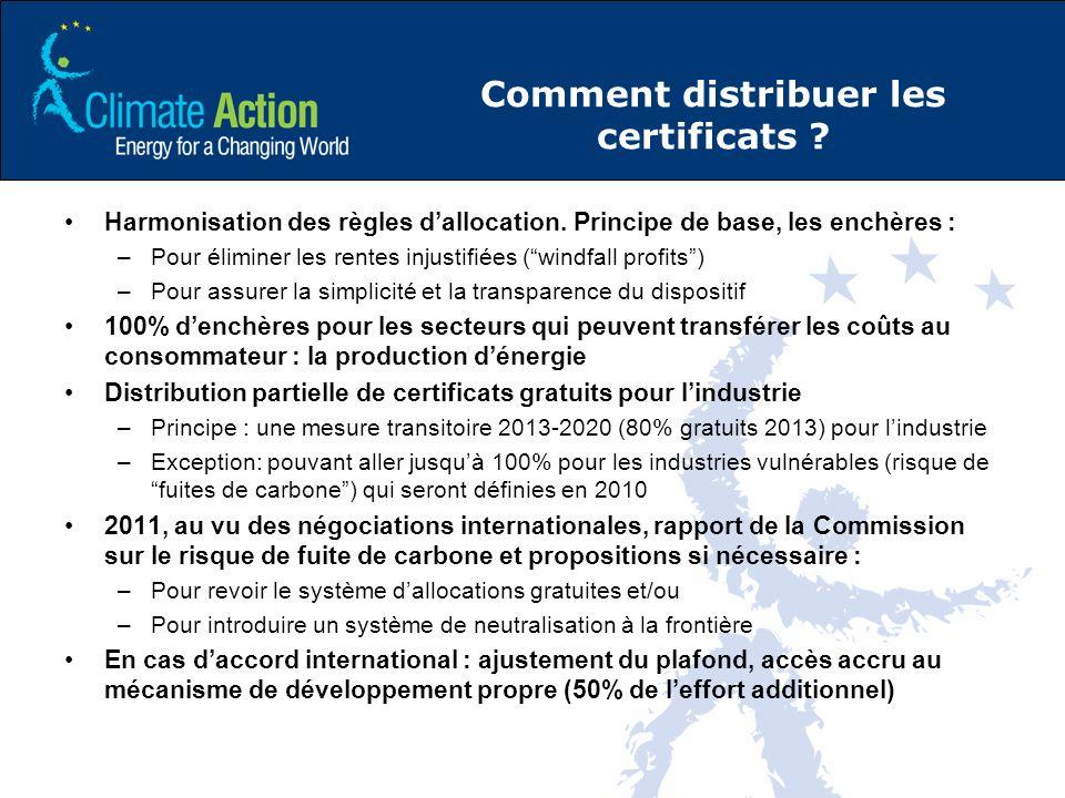 Comment distribuer les certificats . Harmonisation des règles dallocation.