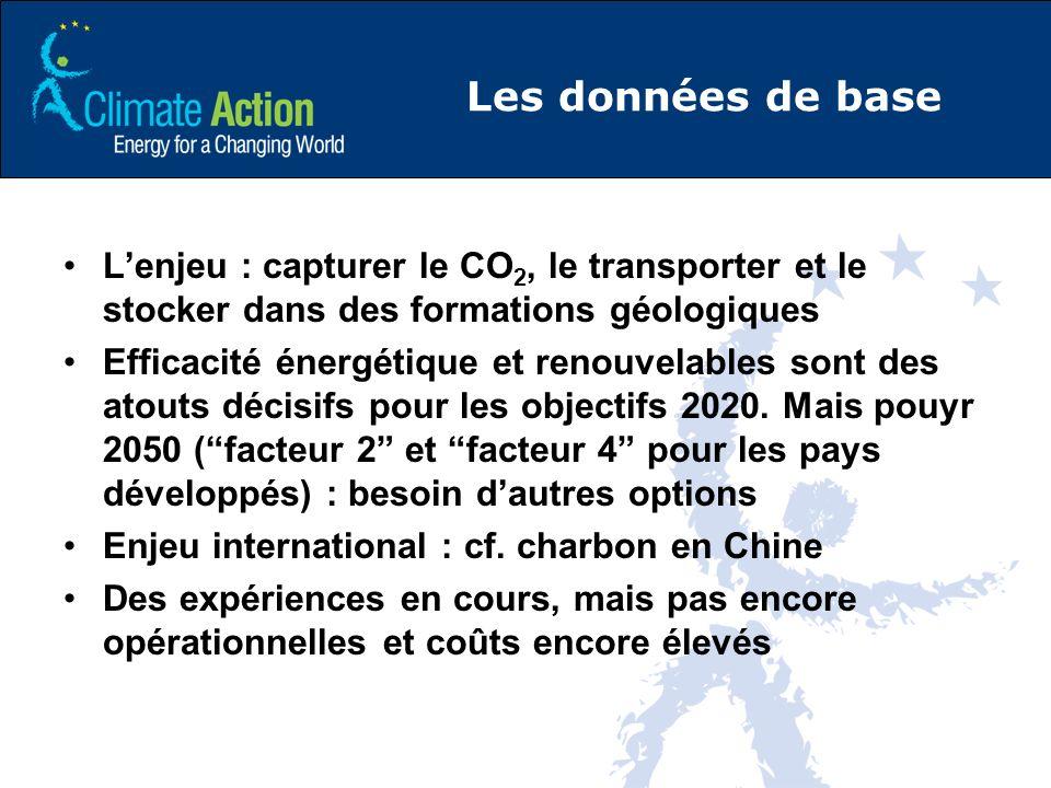 Les données de base Lenjeu : capturer le CO 2, le transporter et le stocker dans des formations géologiques Efficacité énergétique et renouvelables sont des atouts décisifs pour les objectifs 2020.