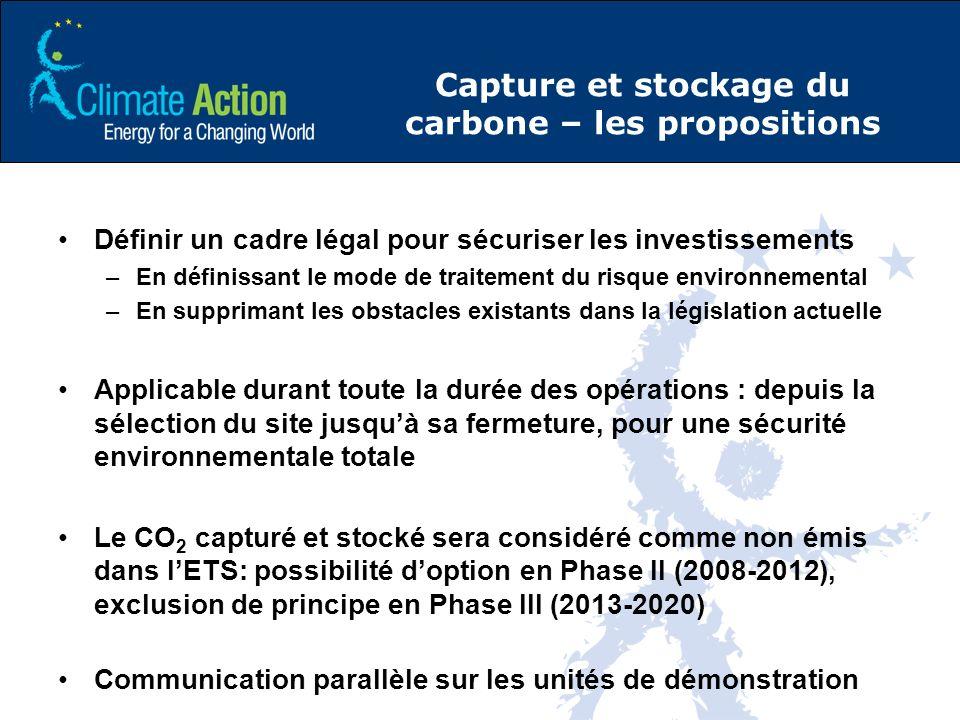 Capture et stockage du carbone – les propositions Définir un cadre légal pour sécuriser les investissements –En définissant le mode de traitement du risque environnemental –En supprimant les obstacles existants dans la législation actuelle Applicable durant toute la durée des opérations : depuis la sélection du site jusquà sa fermeture, pour une sécurité environnementale totale Le CO 2 capturé et stocké sera considéré comme non émis dans lETS: possibilité doption en Phase II (2008-2012), exclusion de principe en Phase III (2013-2020) Communication parallèle sur les unités de démonstration