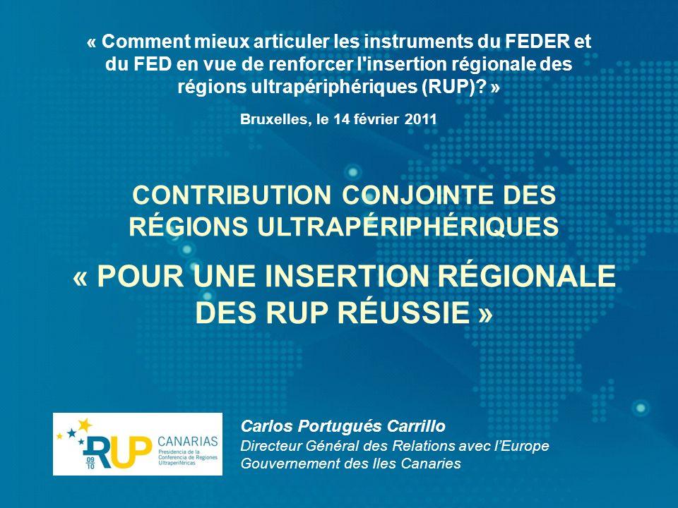 « Comment mieux articuler les instruments du FEDER et du FED en vue de renforcer l'insertion régionale des régions ultrapériphériques (RUP)? » Carlos