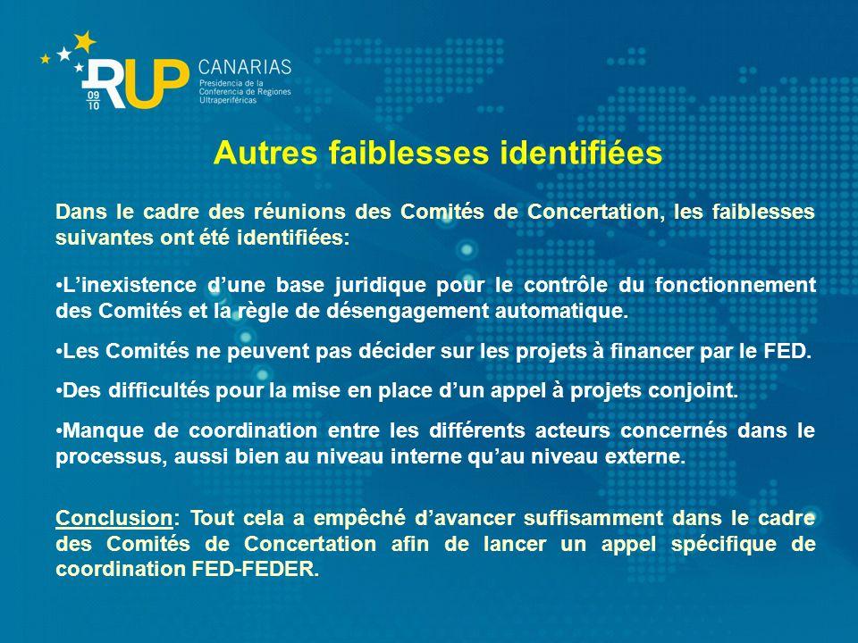 Dans le cadre des réunions des Comités de Concertation, les faiblesses suivantes ont été identifiées: Linexistence dune base juridique pour le contrôl