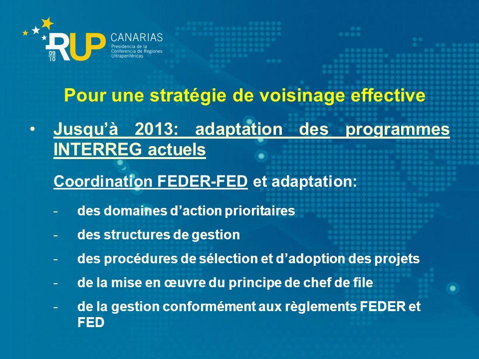 Jusquà 2013: adaptation des programmes INTERREG actuels Coordination FEDER-FED et adaptation: -des domaines daction prioritaires -des structures de ge