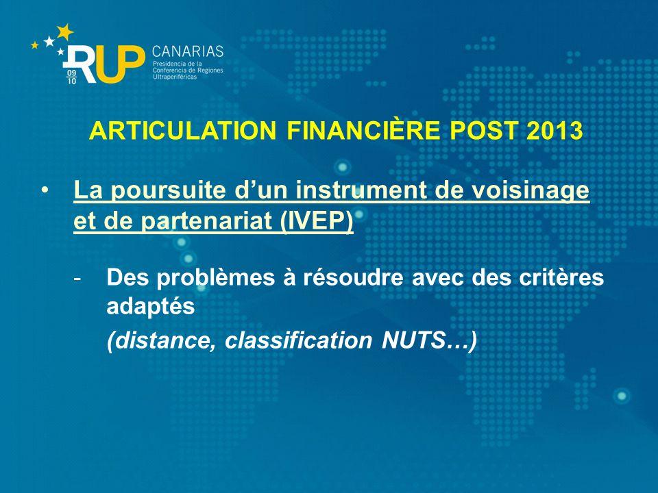 La poursuite dun instrument de voisinage et de partenariat (IVEP) -Des problèmes à résoudre avec des critères adaptés (distance, classification NUTS…)