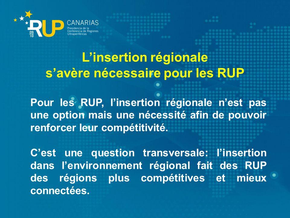 Pour les RUP, linsertion régionale nest pas une option mais une nécessité afin de pouvoir renforcer leur compétitivité. Cest une question transversale