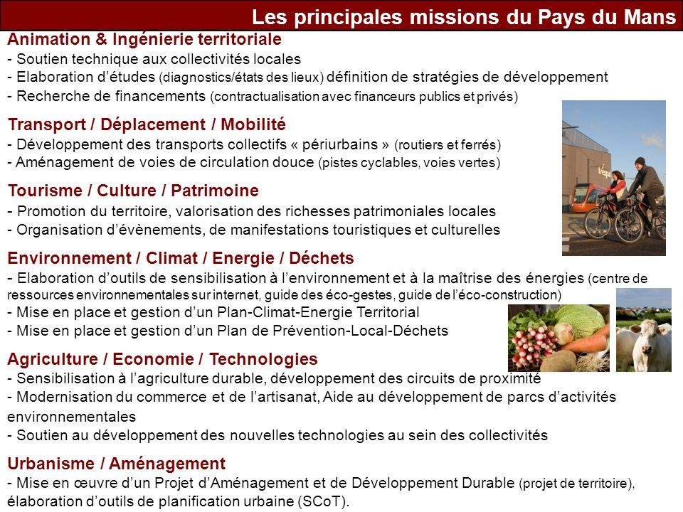 Les principales missions du Pays du Mans Animation & Ingénierie territoriale - Soutien technique aux collectivités locales - Elaboration détudes (diag